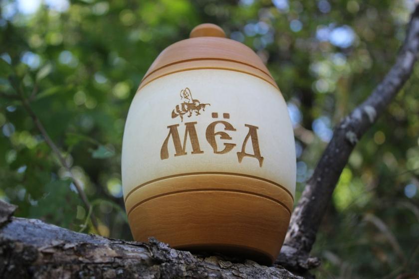 Деревянный бочонок для мёда ( светлый ), 0,9 кг
